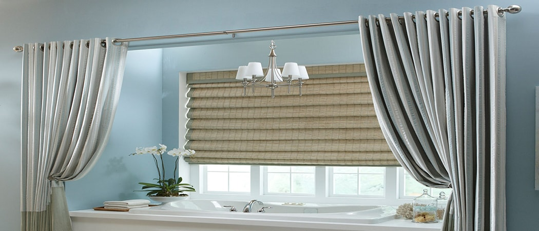 bathtub with custom window fashions