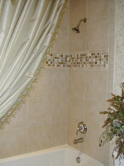Custom Shower Curtain with Elegant bead trim
