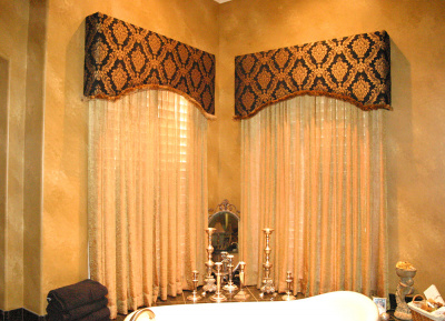 Striking Intimate Eyebrow Arch Cornice over Privacy Sheer Curtains