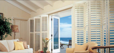 white louvered shutters