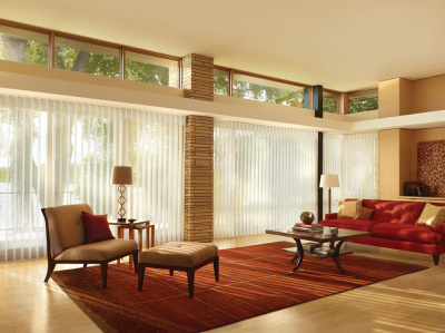 Contemporary pleated Sheer Vertical  motorized shades
