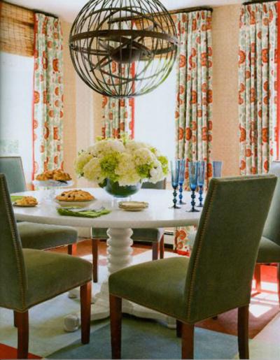 striking kitchen drapery over woven shades