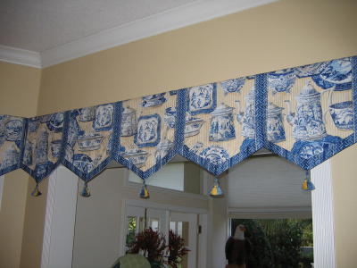 pennant shaped blue top treatment