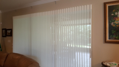 Simply Elegant. White privacy Sheered Verticals on 12ft Slider