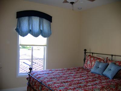 bedroom blue top treatment