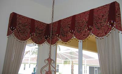 Corner Queen Ann Beaded Bell  Valance Top Treatment & White Drapery Panels