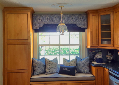 Cozy Kitchen Window Bench with Striking Coordinating Shade Cornice & Pillows