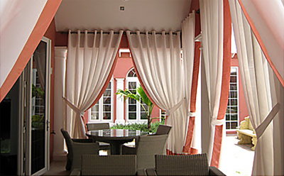 outdoor patio pleated curtains