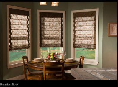 breakfast nook roman shades