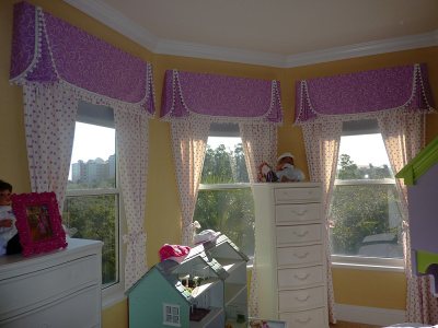 Girl's Matching Ball Trimmed Purple Tailored Valances over White Polka-dot Panels