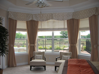 Tailored Shaped Bay Valance, Contrasting Draperies and  Roman shades