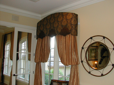 Curved Top and Shaped Bottom top treatment Valance on Bishop Sleeve draperies