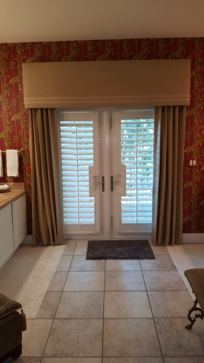 bath draperies with shutters