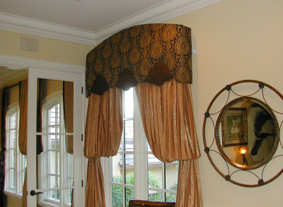 Intricate Curved top Cornice with Shaped Contrast bottom and Bishop Sleeve Panels