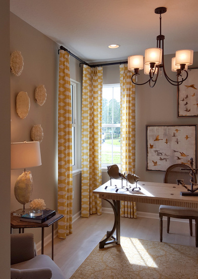 Contemporary white and yellow corner window drapery