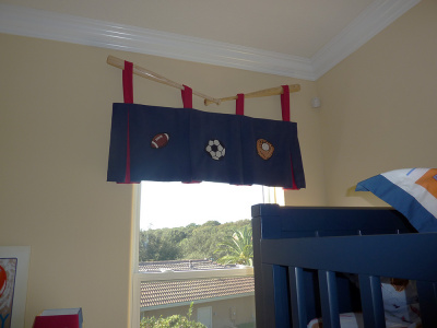 Boy's  All-sports themed Tab Valance Mounted on Real BB Bats
