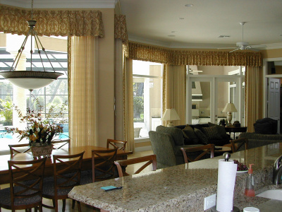 Pleated Gold Valances over Coordinating Sheer Draperies