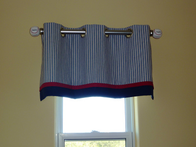Boy's blue striped, Double Banded Grommet valance on Deco Pole w Real BB Finials