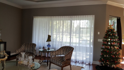 Luxurious family room Slider Privacy Sheer Verticals