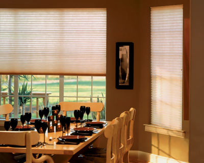 pleated dining room shades