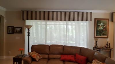 Sheered Luminettes under 13 ft Upholstered Cornice