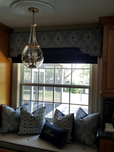 Cozy Window Bench with Coordinated  Shade Cornice, cushion and Throw Pillows