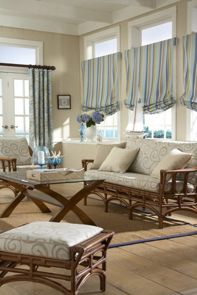 aqua striped roman shades