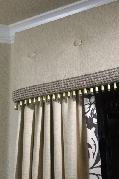 Spectacular Upholstered Cornice with Double Trims & Coordinated Drapery Panels
