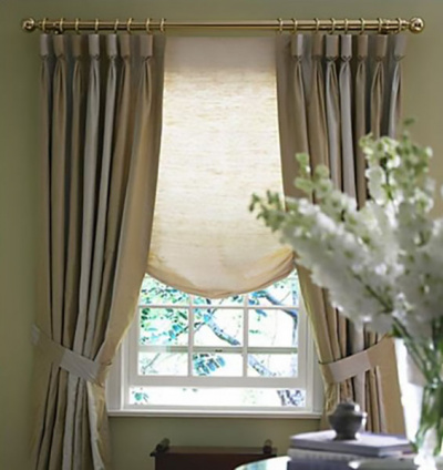 Goblet pleated Panels over London Roman shade