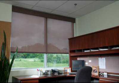 solar shades in an office