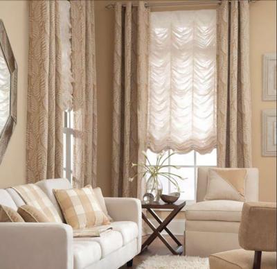 Monochromatic living room Panels & Austrian Sheers shades